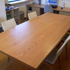 大阪 オーダー家具 ナラ無垢材・イゾンベ無垢材(足)オフィステーブル