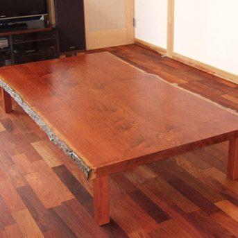 大阪 オーダー家具 ブビンガ無垢材テーブル