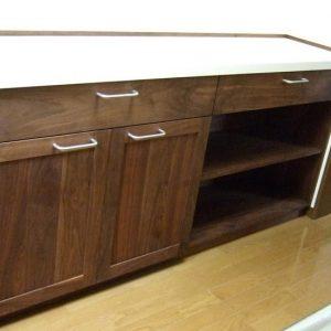 大阪, オーダー家具 ウォールナット無垢材 キッチンワークテーブル
