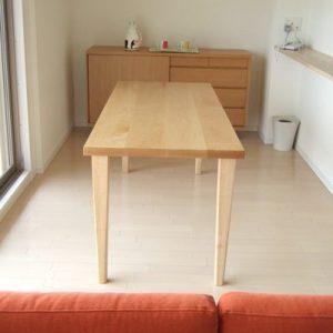 大阪, オーダー家具 北海道産ナラ無垢材(2枚ハギ)ダイニングテーブル