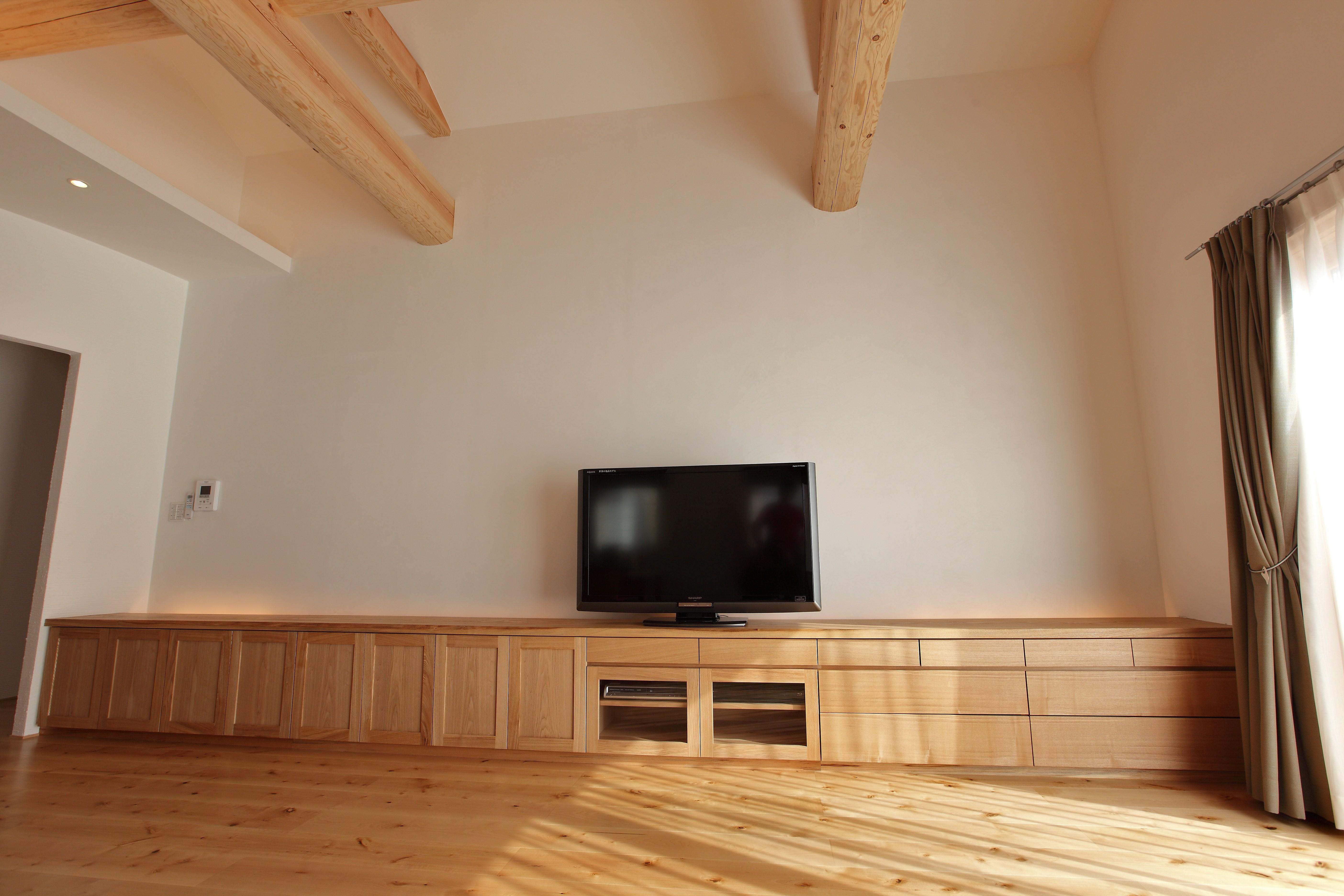 マルチメディアボード AVボード タモ 大阪 オーダー家具 一枚板 無垢材 タモ無垢材AVボード