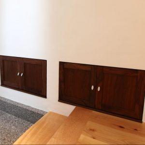 壁面収納, 玄関, ヒノキ, 大阪, ウォールナット, オーダー家具, 無垢材 壁面収納の下駄箱