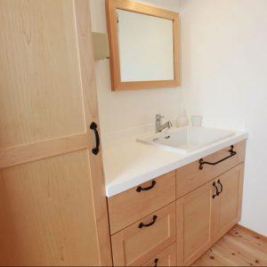 洗面台, 大阪, メープル, オーダー家具, 無垢材 メープルの香りが素敵な洗面