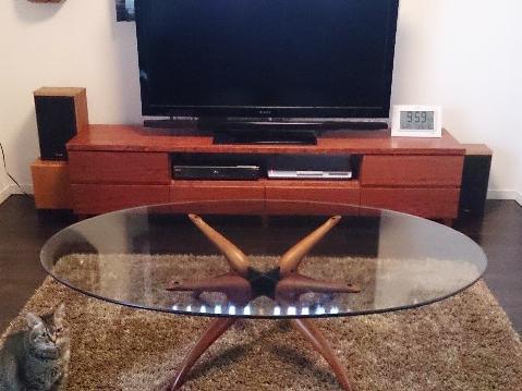 大阪 オーダー家具 テレビボード テレビラック ローボード リビング収納 TVボード ブビンガ AVボード 無垢材 ブビンガTVボード